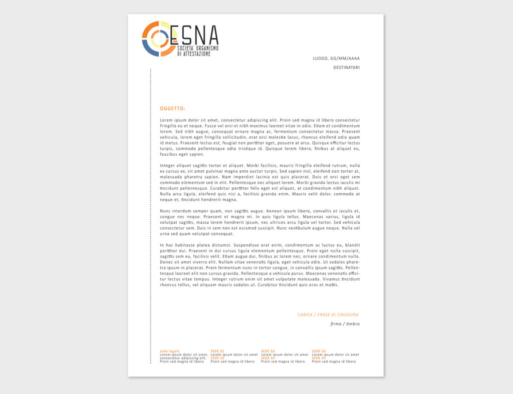 ESNA – proposta grafica carta intestata