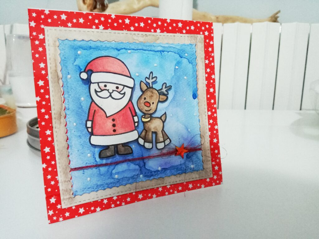 Card natalizia con Babbo Natale e Rudolf