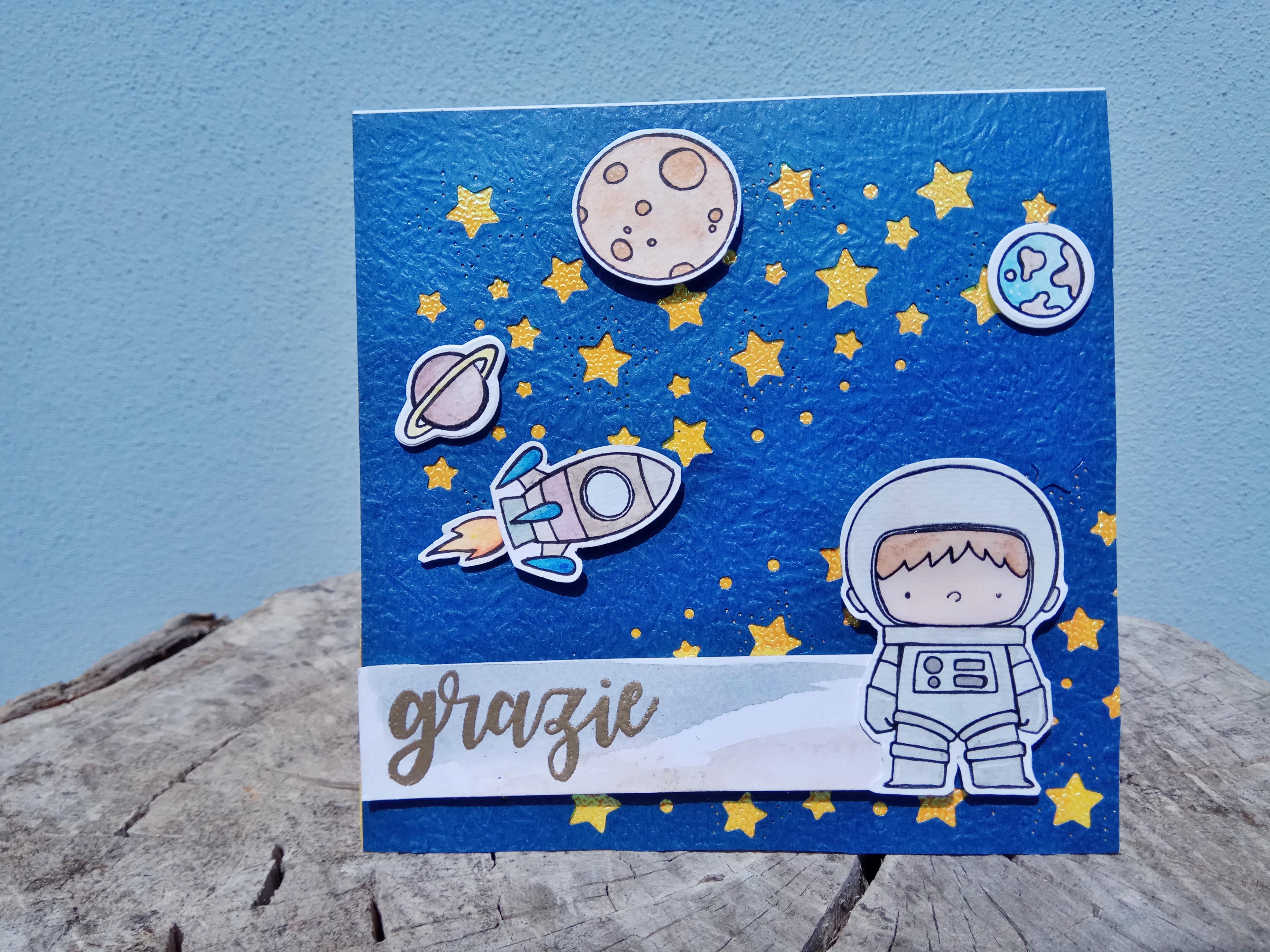 """Card multiuso con astronauta """"Grazie"""""""