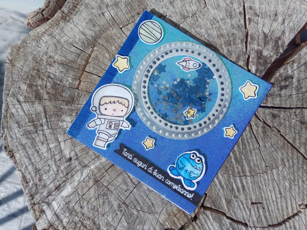 Shaker card di auguri con astronauta