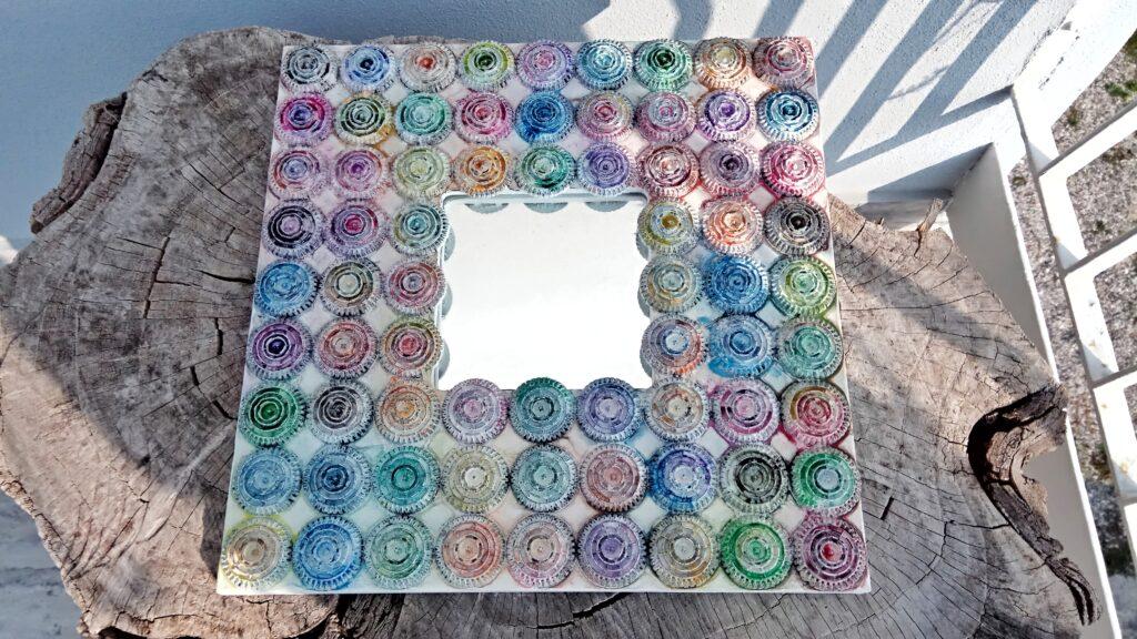 Specchio quadrato pois multicolor