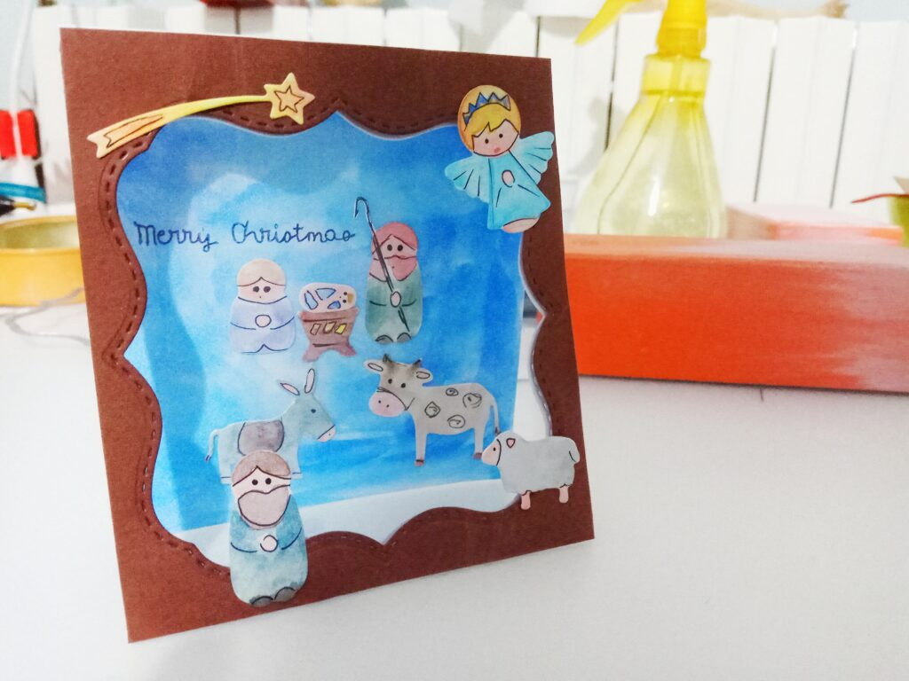 Mini-Card natalizia con presepio