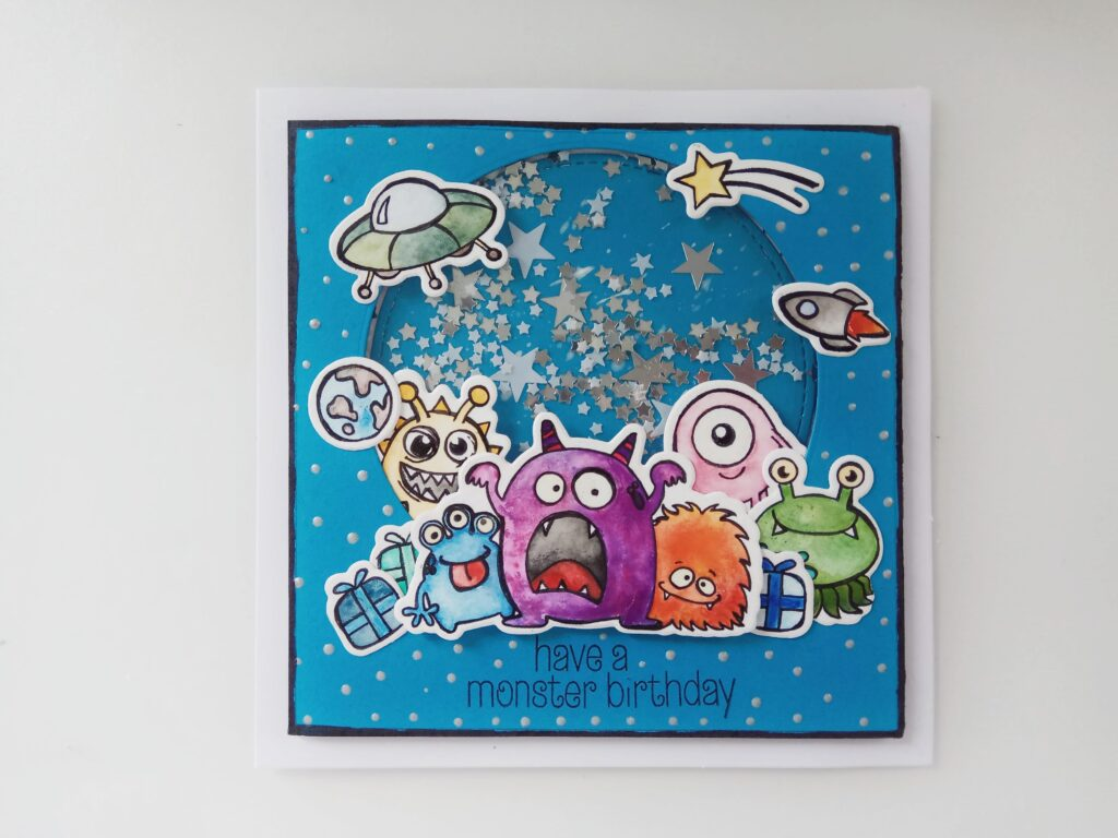 Shaker card di compleanno con alieni e pacchetti regalo