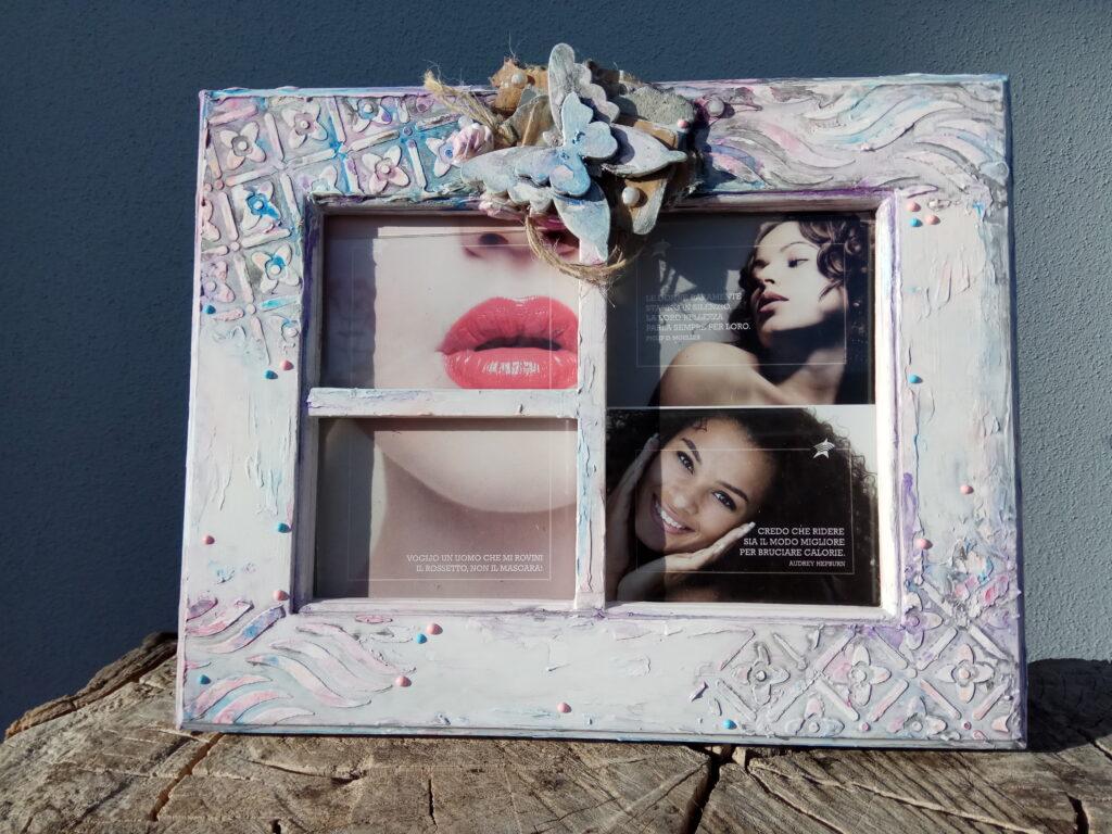 Cornice combinazione 3 foto, tonalità vola – azzuro – rosa