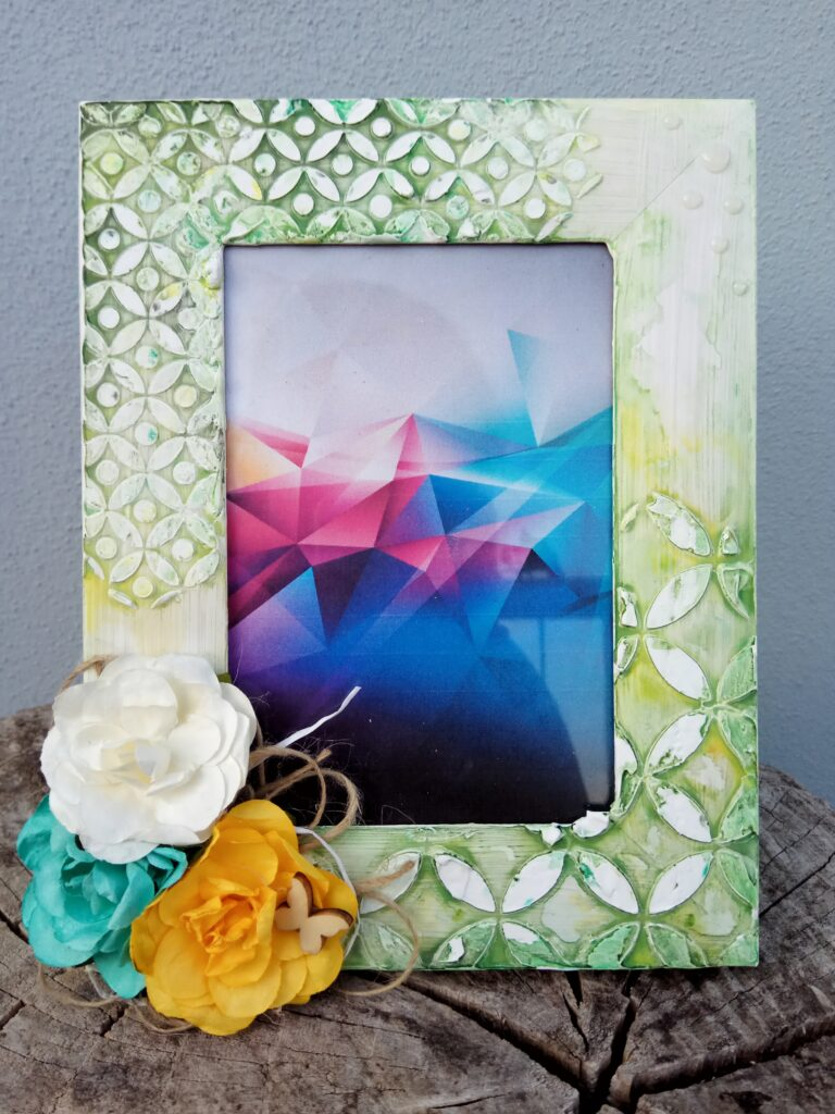 Cornice portafoto floreale verde