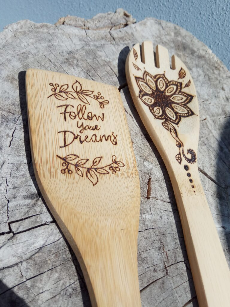 """Set mestolo e spatola in bambù """"Follow your Dreams"""""""