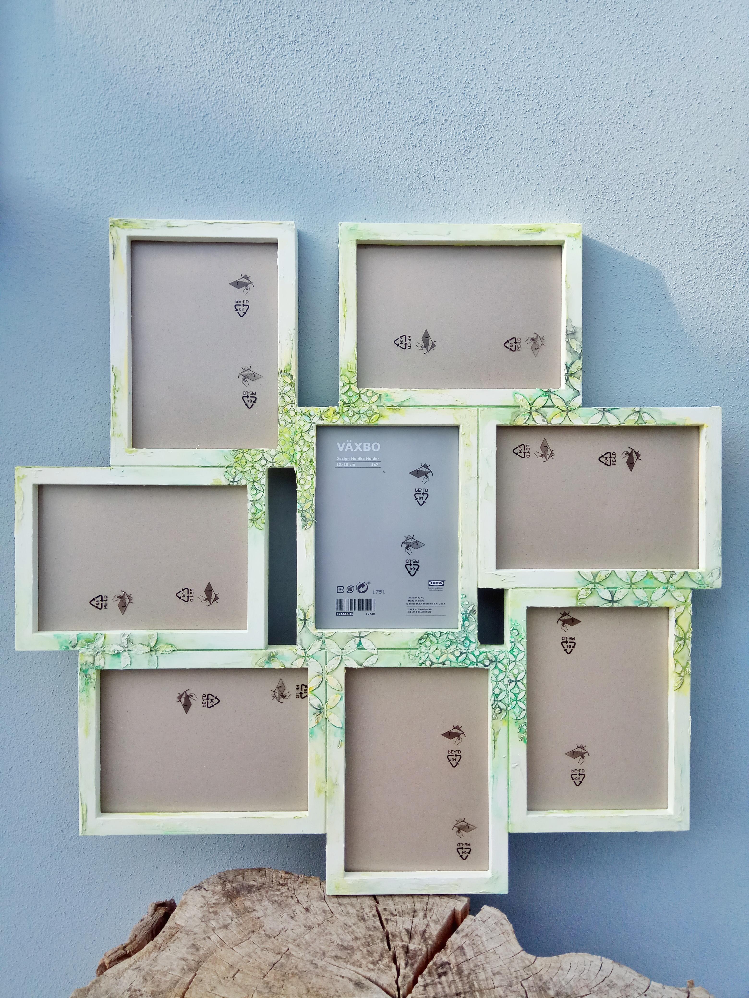 Combinazione cornice 8 foto, tonalità sulle sfumature del verde
