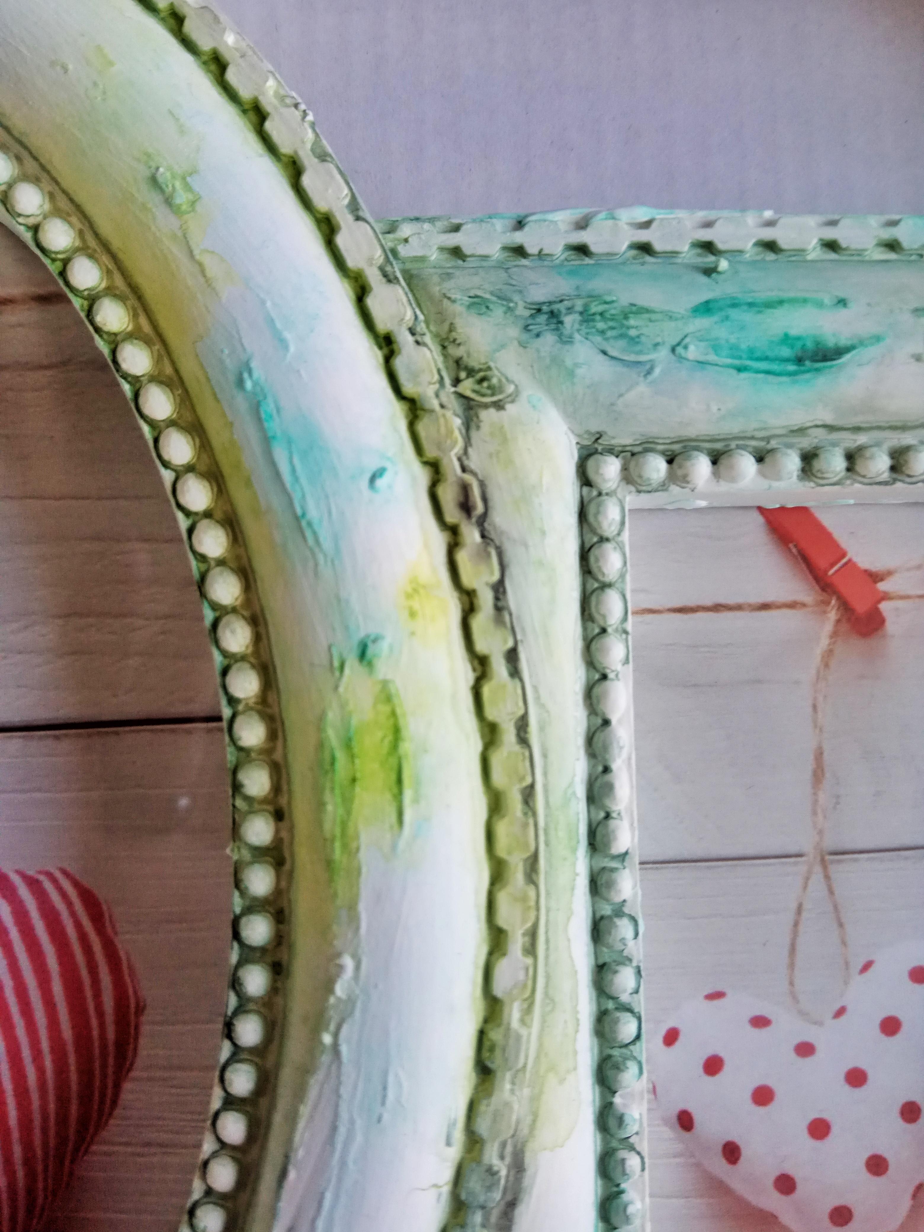 Combinazione cornice 4 foto, tonalità sulle sfumature del verde