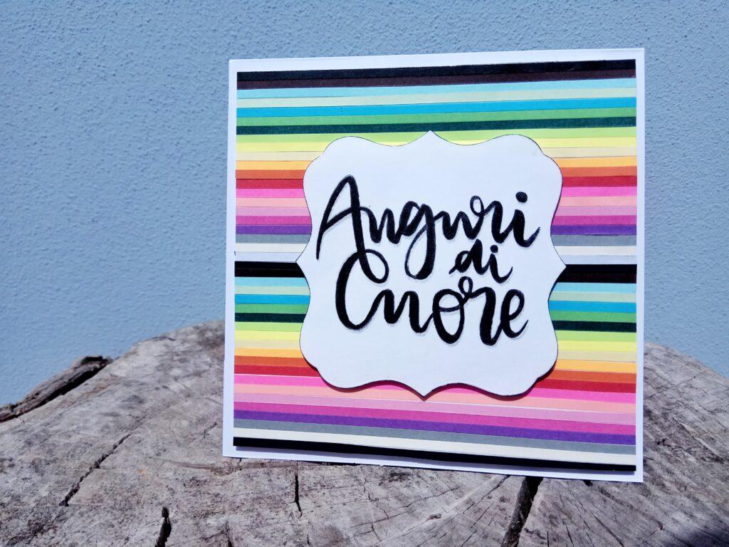 "Card arcobaleno ""Auguri di Cuore"""