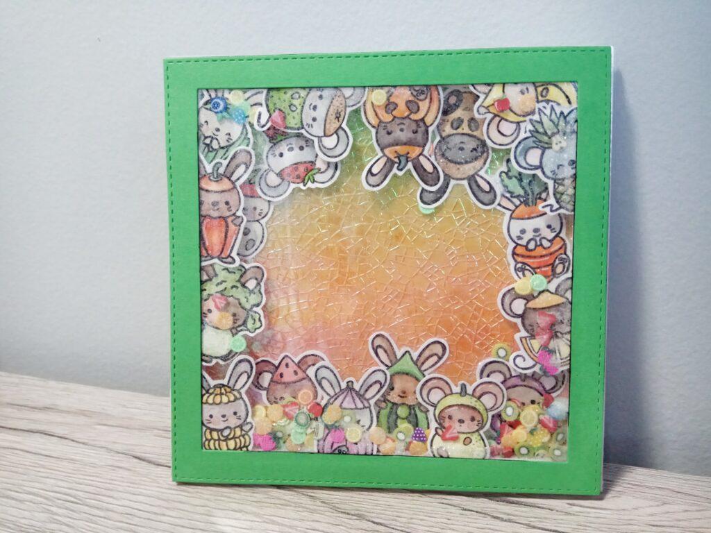 Shaker card di compleanno a tema frutta e verdura