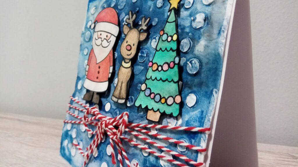 Card natalizia Babbo Natale, Rudolf e l'albero