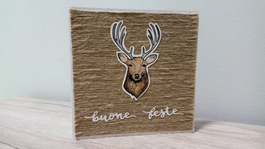 Card natalizia in juta con renna