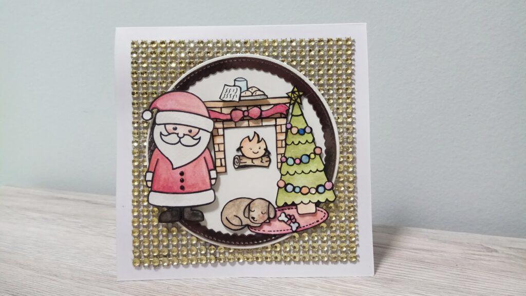 Card natalizia con scenetta e sfondo diamantato