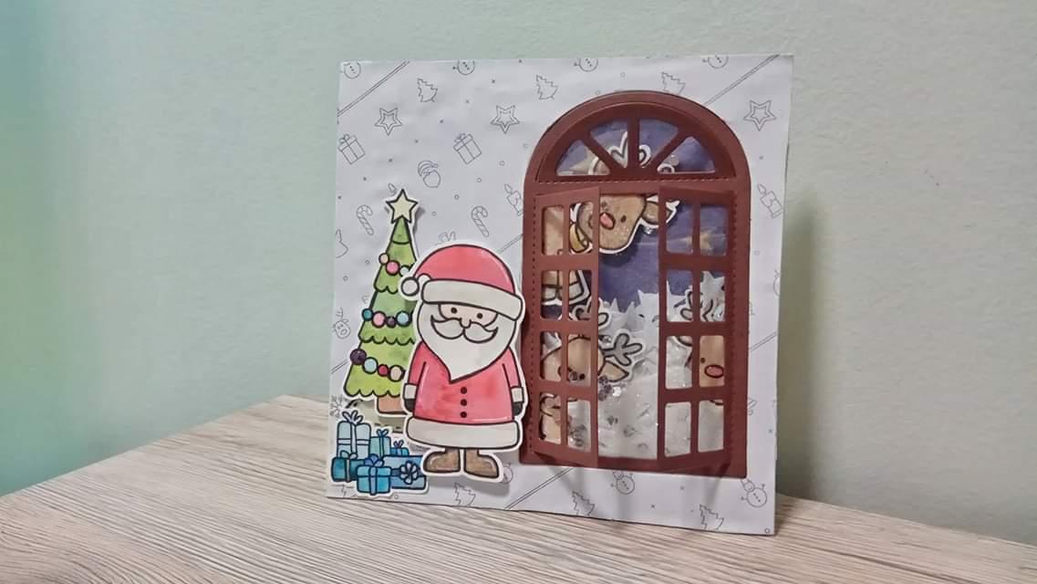 Shaker Card natalizia con scenetta e finestra apribile