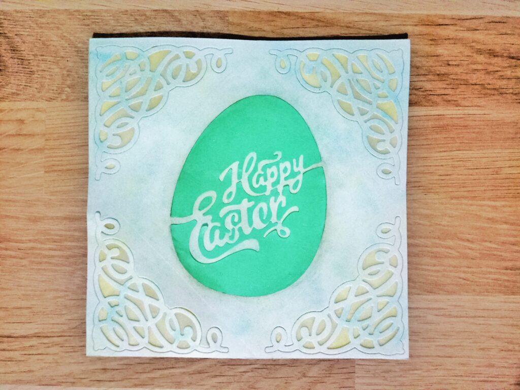 Card di Pasqua con uovo stilizzato ed angolari decorativi