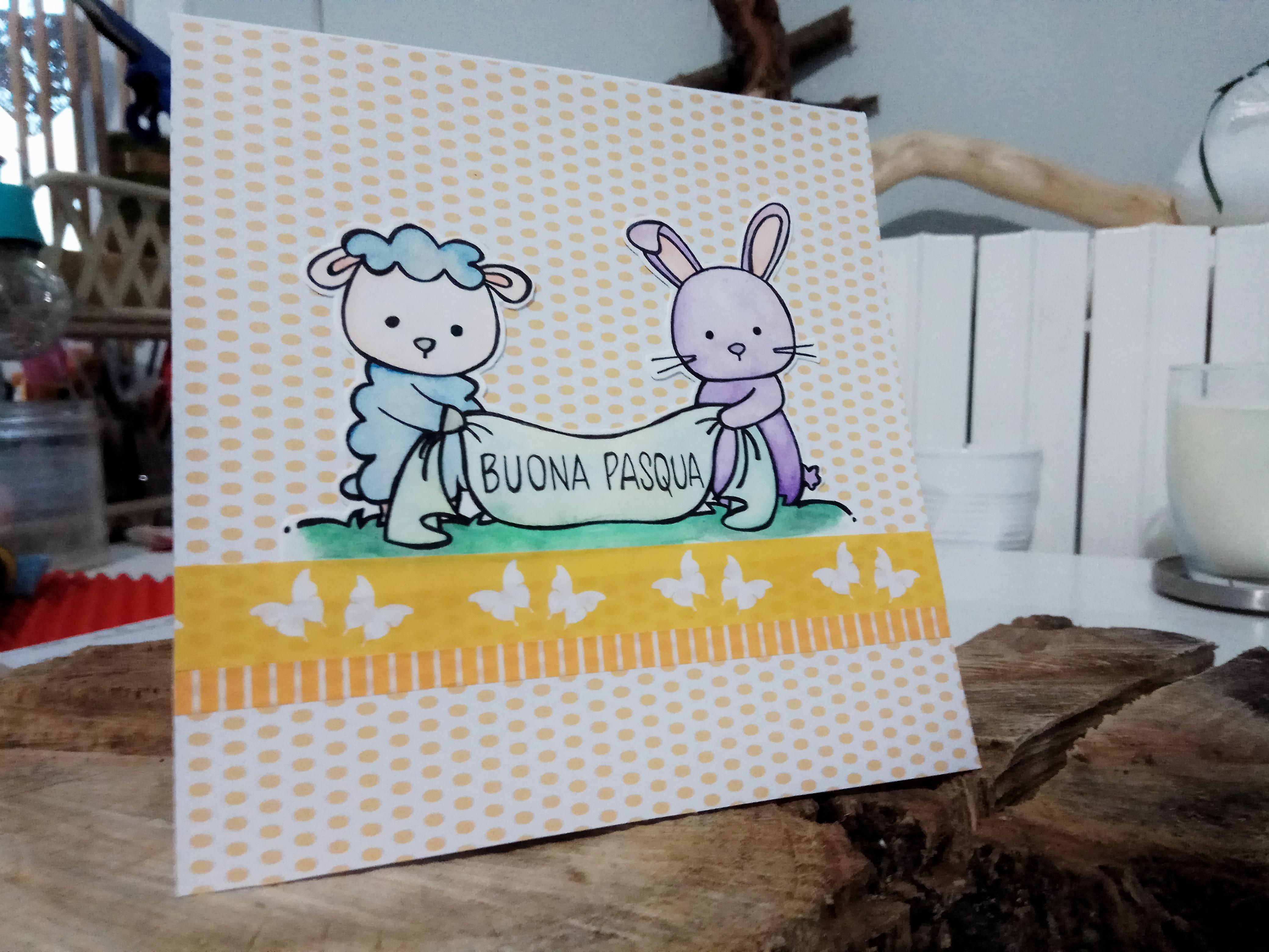 Card di Pasqua con coniglietto e agnello in stile cartoon