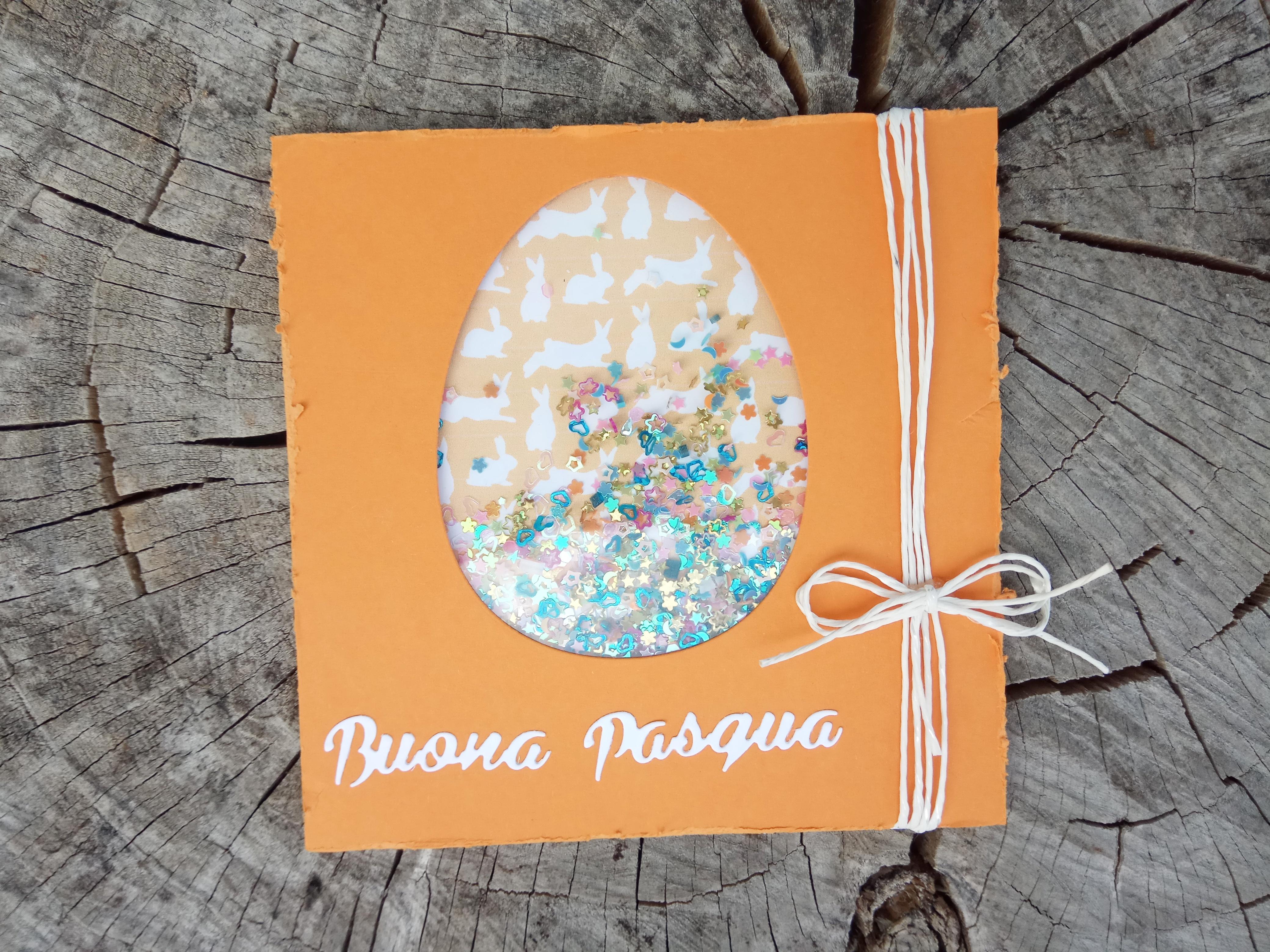 Shaker Card di Pasqua arancione con cordoncino