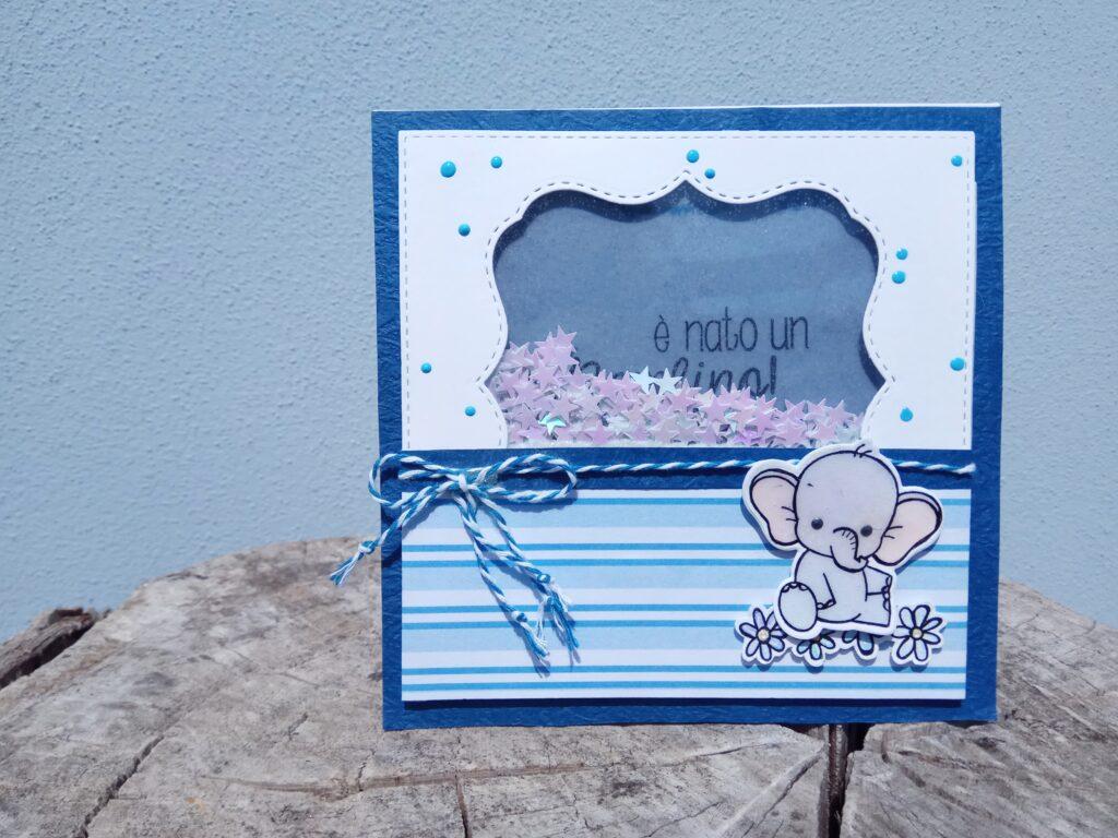 Shaker Card di nascita con elefantino, versione bambino