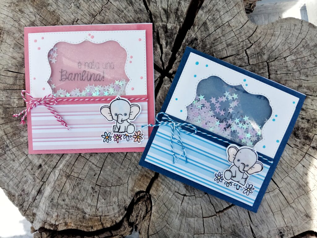 Shaker Card di nascita con elefantino, versione bambina.
