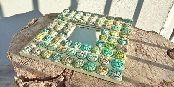 Specchio quadrato pois verdi